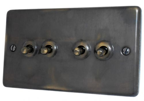 G&H CAN284 Standard Plate Polished Aged Brass 4 Gang 1 or 2 Way Toggle Light Switch